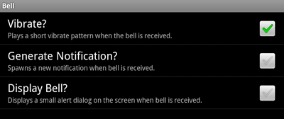 The Bell Options Page