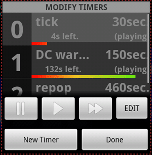 The timer selection dialog.