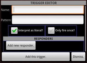 The trigger editor dialog for a new trigger.